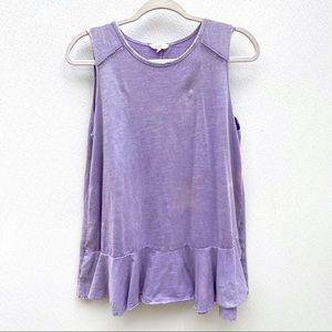 Easel Los Angeles purple cotton shirt peplum tunic